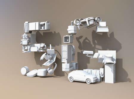 Appareils intelligents, drone, véhicule autonome et robot disposés en texte `` 5G ''. Abat-jour blanc. Concept 5G. Image de rendu 3D. Banque d'images