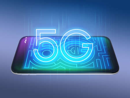 5G text on smart phone. 3D rendering image.