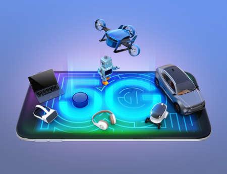 Smart appliances, drone, autonomous vehicle and robot on smart phone, 5G concept. 3D rendering image.