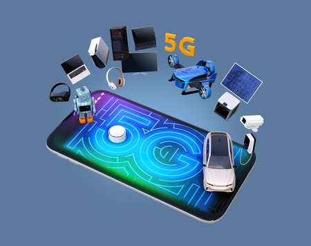 Smart appliances, drone, autonomous vehicle and robot on smart phone, 5G graphic display on the smart phone. 5G concept. 3D rendering image.