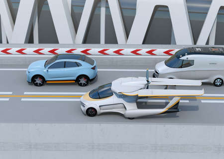 Side view of futuristic flying car driving on the highway. 3D rendering image. Stock Photo