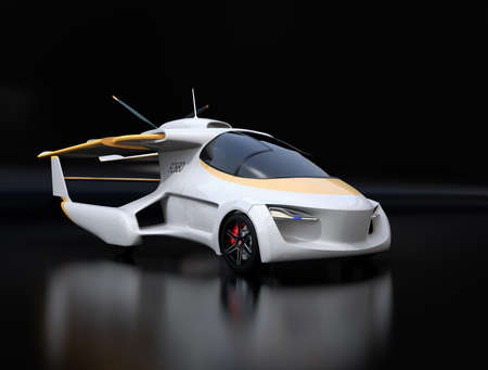 Futuristic autonomous car on black background. Flying car concept. 3D rendering image. Stock fotó - 104225444