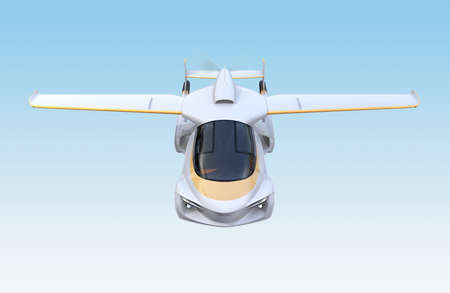 Front view of futuristic autonomous car flying in the sky. 3D rendering image.