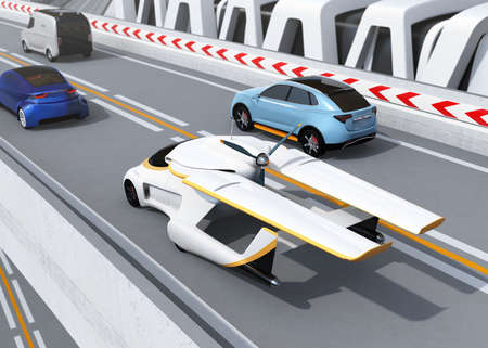 Futuristic flying car driving on the highway. 3D rendering image.