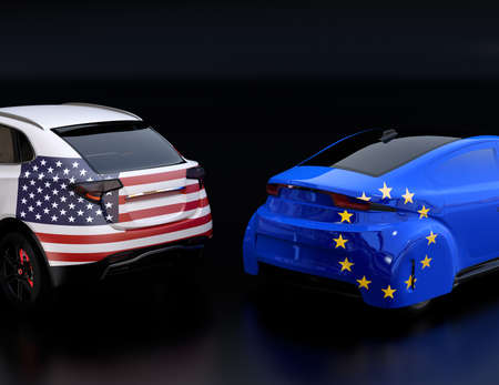 Two cars with EU and US flags on rear side. black background. Europe USA trade war, American tariffs concept. 3D rendering image.