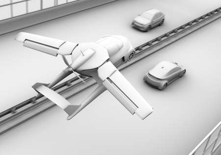 Clay shading rendering of futuristic flying car flying over a sedan car driving in highway. 3D rendering image.