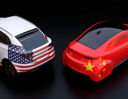 Two cars with China and US flags on rear side. black background. China USA trade war, American tariffs concept. 3D rendering image.