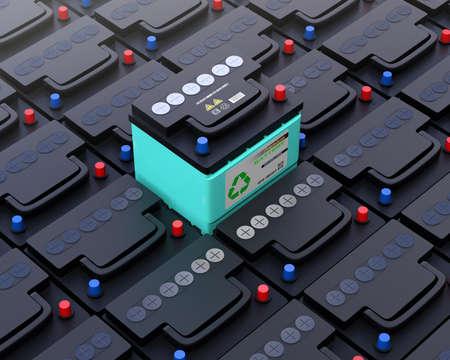 La batería del coche Ecology surge de otra batería normal. Concepto de batería de larga duración sin mantenimiento. Imagen de renderizado 3D. Foto de archivo