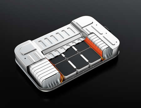 Cutaway view of electric vehicle battery pack on black background. 3D rendering image. Stockfoto