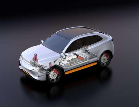 Vista trasparente dell'auto SUV elettrica con sospensioni, sistema di sterzo e pacchetto batteria in modalità sezionata. Sfondo nero e vista isometrica. Immagine di rendering 3D. Archivio Fotografico