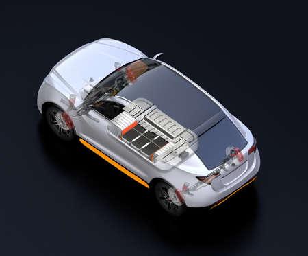 Transparente Ansicht des elektrischen SUV-Autos mit Federung, Lenksystem und Batteriepaket im Cutaway-Modus. Schwarzer Hintergrund und isometrische Ansicht. 3D-Rendering-Bild. Standard-Bild