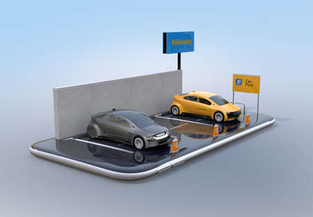 Electric cars with car sharing billboard on smartphone. White background. Car sharing concept. 3D rendering image.