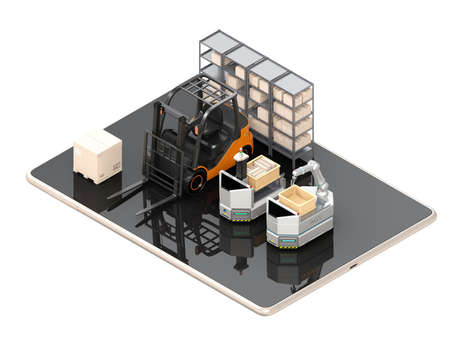 Electric forklift, AGV on tablet PC. White background. Factory automation concept. 3D rendering image.
