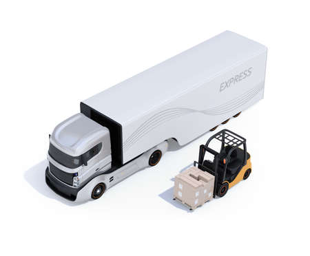 Electric semi truck and forklift isolated on white background. 3D rendering image.
