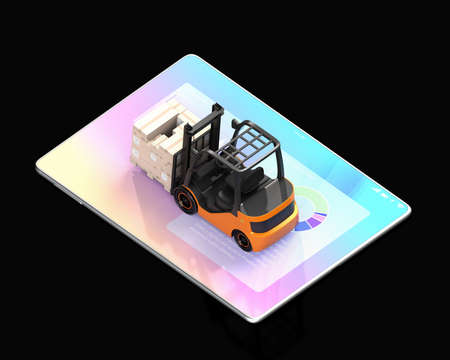 Electric forklift with cardboard boxes on tablet PC. Black background. Factory automation concept. 3D rendering image.