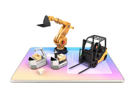 Electric forklift, AGV and industrial robot on tablet PC. White background. Factory automation concept. 3D rendering image.