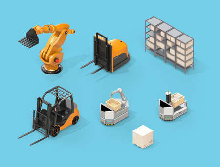 Isometric view of electric forklift, autonomous forklift, AGV, industrial robot on blue background. 3D rendering image.