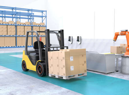 Electric forklift with cardboard boxes in modern distribution center. 3D rendering image. 写真素材