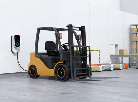Electric forklift, logistics robots charging in charging station. 3D rendering image. 写真素材