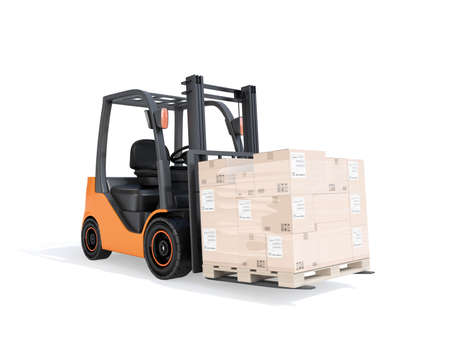 Electric forklift carrying cardboard boxes on pallet. White background. 3D rendering image. 写真素材