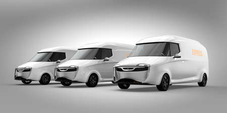 Fleet of white electric powered delivery vans on gray background. 3D rendering image. 写真素材