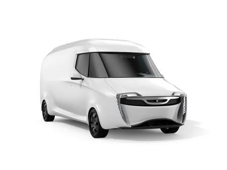 White electric powered delivery van isolated on white background. 3D rendering image. 写真素材