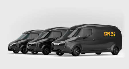 Fleet of black electric powered delivery vans on gray background. 3D rendering image.