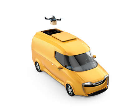 Delivery drone takeoff from yellow electric delivery van on white background. Copy space on the body. 3D rendering image.