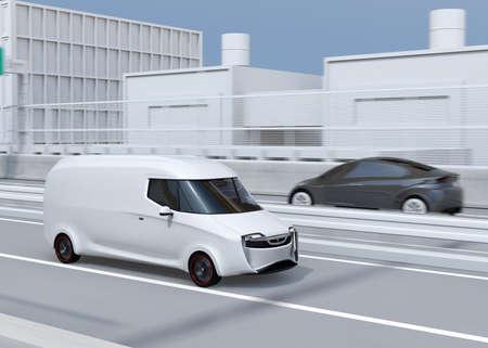 White self-driving delivery van driving on highway. 3D rendering image. 写真素材