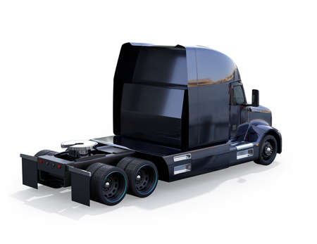 Rear view of black American fuel cell powered truck cabin isolated on white background. 3D rendering image.