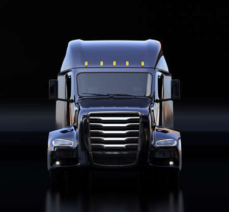 Front view of black fuel cell powered American truck cabin on black background. 3D rendering image. 写真素材
