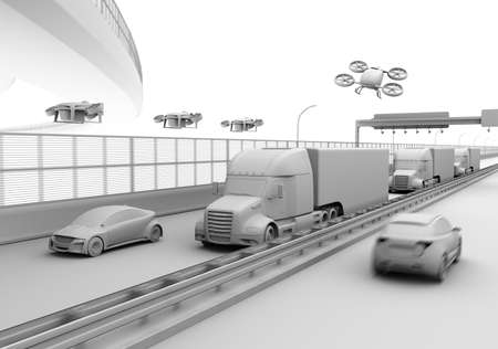 Clay rendering of American Trucks, cargo drones and flying car. Logistics and transportation concept. 3D rendering image. 写真素材
