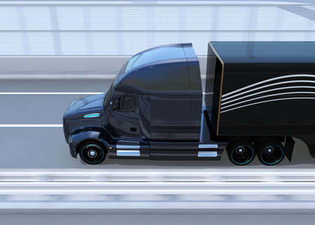 Side view of Fuel Cell Powered American Truck driving on highway. 3D rendering image. 写真素材