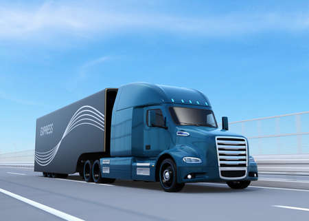 Metallic blue Fuel Cell Powered American Truck driving on highway. 3D rendering image. Stock Photo