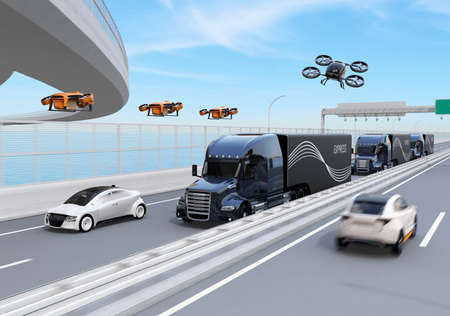Fleet of American Trucks, cargo drones and flying car. Logistics and transportation concept. 3D rendering image. Stock Photo