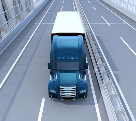 Front view of metallic blue Fuel Cell Powered American Truck driving on highway. 3D rendering image. 写真素材