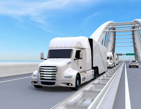 A fleet of white self-driving Fuel Cell Powered American Trucks driving on highway. 3D rendering image.