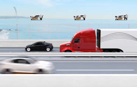 Fleet of American Trucks, cargo drones and flying car. Logistics and transportation concept. 3D rendering image. Stockfoto