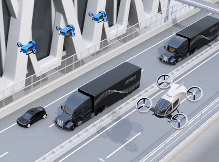 Fleet of American Trucks, cargo drones and flying car. Logistics and transportation concept. 3D rendering image. 写真素材