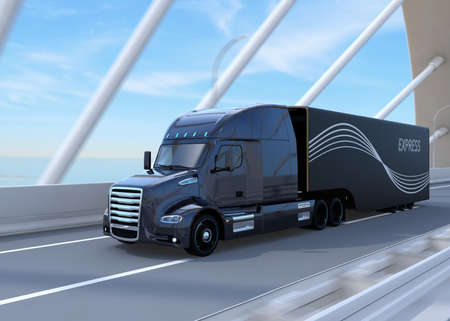 Black Fuel Cell Powered American Truck driving on highway. 3D rendering image. 写真素材