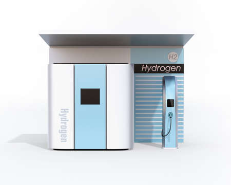 Front view of fuel Cell Hydrogen Station concept. 3D rendering image. Foto de archivo
