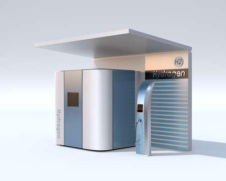 Fuel Cell Hydrogen Station concept. 3D rendering image.