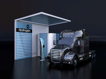 Fuel Cell powered truck filling hydrogen gas in Fuel Cell Hydrogen Station. Black background. 3D rendering image.