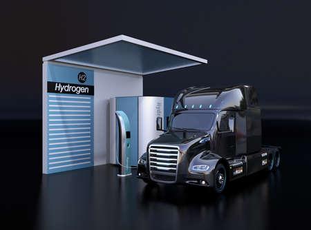 Camion alimentato a celle a combustibile che riempie gas idrogeno nella stazione di idrogeno a celle a combustibile. Sfondo nero. Immagine di rendering 3D.