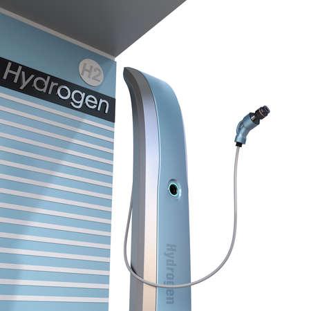 Hydrogen dispensers in Fuel Cell Hydrogen Station. 3D rendering image.