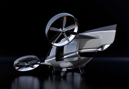 Rear view of Passenger Drone on black background. 3D rendering image.