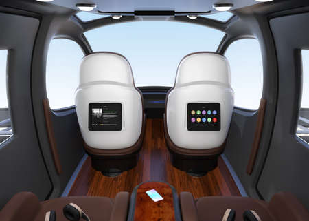 Passenger Drone interior. Monitor mounted on seats backrest. Headsets on each seats and smartphone on small table. 3D rendering image. Imagens
