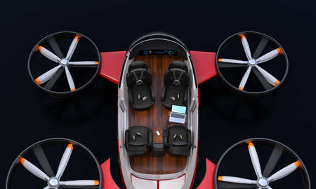 Cutaway Passenger Drone interior on black background. Rear view on black background. 3D rendering image. Archivio Fotografico - 107573096