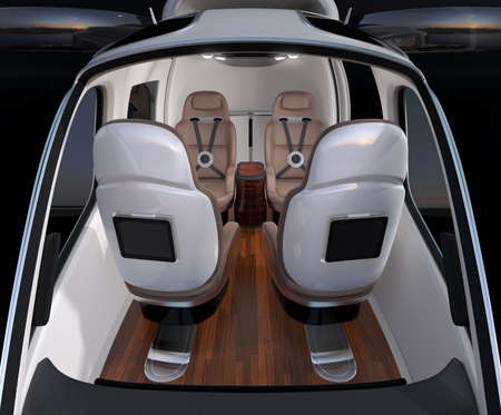 Front view of Passenger Drone interior. Front leather seats turned backward. 3D rendering image. Archivio Fotografico - 107573098