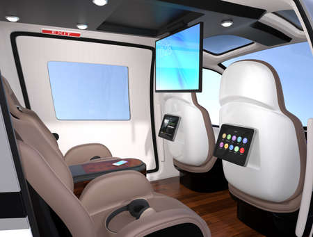 Interior of Passenger Drone equipped with ceiling and seats mounted monitors. luxury leather seats turned backward. 3D rendering image. Archivio Fotografico - 107573100